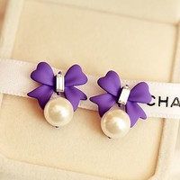 Bow and Pearl Color Fashion Earrings (Purple) - LilyFair Jewelry