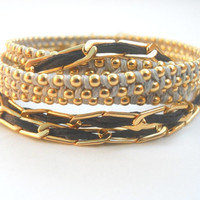 Gold, Black and Grey Wrap Bracelet or Necklace