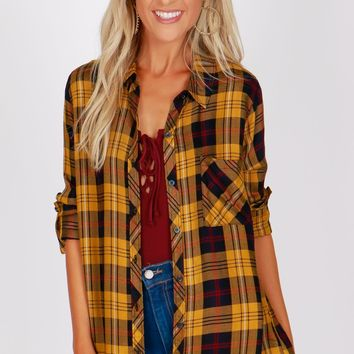 Causal Flannel Top Navy/Mustard