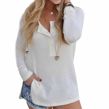 Women's Loose Fit Knitted Long-Sleeve Sweater
