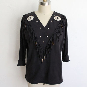 Vintage 80s Women's Black Long Sleeve Western Fringe T-shirt // Southwestern Top