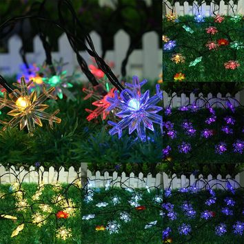 Solar Powered 5M 20LED Snowflake Bling Fairy String Lights Christmas Outdoor Party Home Decor