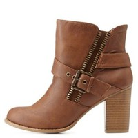 Cognac Side-Gored Zipper-Trim Chunky Heel Booties by Charlotte Russe