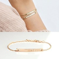 SAME DAY SHIPPING GIFT TIL 2PM CDT Coordinate Bar Bracelet Daimond Engraving 16k Gold Silver Rose Gold -Plated Dainty GPS Personalized dainty and delicate Initial Charms Bridesmaid wedding mom gift