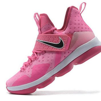 Official LeBron 14 XIV Shoes 2017 Aunt Pearl Think Pink Vivid Pink Arctic Pink Brand sneaker