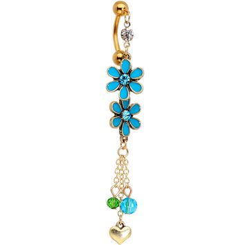 Blue Green Gem Gold PVD Double Daisy Top Mount Dangle Belly Ring
