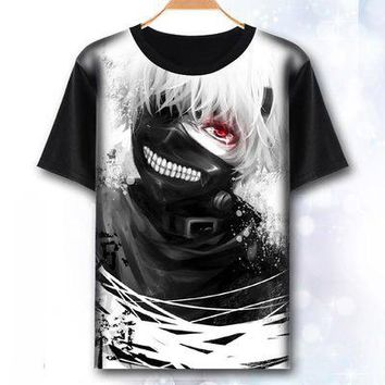 Anime T-Shirt cosplay Tokyo Ghoul T-Shirt Fashion Men Women Clothes Anime Short Sleeve T Shirt Kaneki Ken Cosplay Tshirt Top AT_57_4