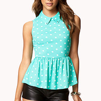 Polka Dot Georgette Pepluem Top