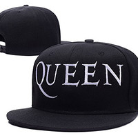 HAIHONG Queen Band Logo Adjustable Snapback Embroidery Hats Caps - Black