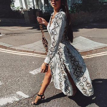 Snake Skin Print Loose V-neck Mid Maxi Dress