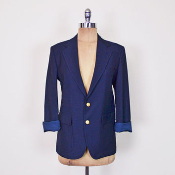 Vintage 80s 90s Navy Blue Blazer Jacket Boyfriend Blazer Military Blazer Gold Crest Button Skinny Fit Shrunken Tiny Fit XS Extra Small S
