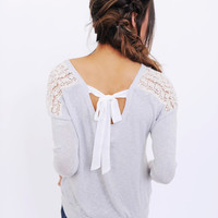Light Grey Crochet Bow Back Top