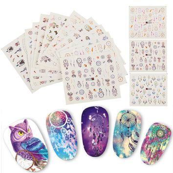 Hot 12PCS Nail Stickers DIY Water Transfer Tips Nail Decoration Art Sticker Decal Fingernail Stickers Tool Random Style