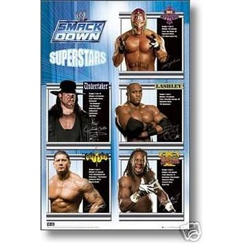 WWE Superstars Collage Poster Smackdown Rare New 24x36