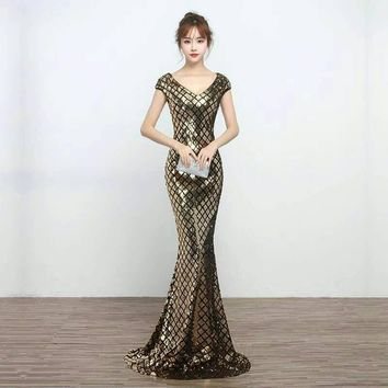 Latest Dress Designs Women Sexy Sequin Bodycon Gold Sequin Mermaid Maxi Evening Gown Prom Dresses Party Dress for Young Ladies