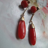 Vintage 14K Coral Pierced Earrings