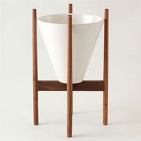 architectural pottery s2 planter and walnut stand