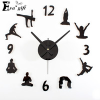 Creative yoga wall clock for living room mute quartz  DIY wall watch decorative Fashion wall stickers clock for women gift