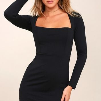 Play the Part Black Long Sleeve Bodycon Dress