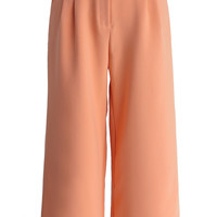 Breezy Wide Leg Cropped Pants in Coral Red