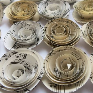 12 Sheet Music Paper Flowers, 1.5 Inch Rosettes, Music Theme Party Decor, Band Teacher Gift Idea