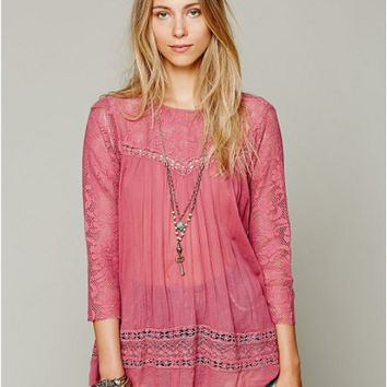 Cutout Lace Sleeve Pleated Blouse