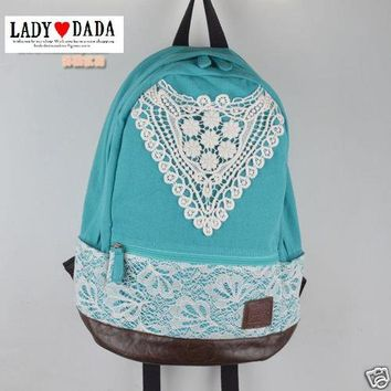 JAPAN VV Lady Lovable Lace Cotton Pink Backpack School Campus Outdoor Laptop Bag
