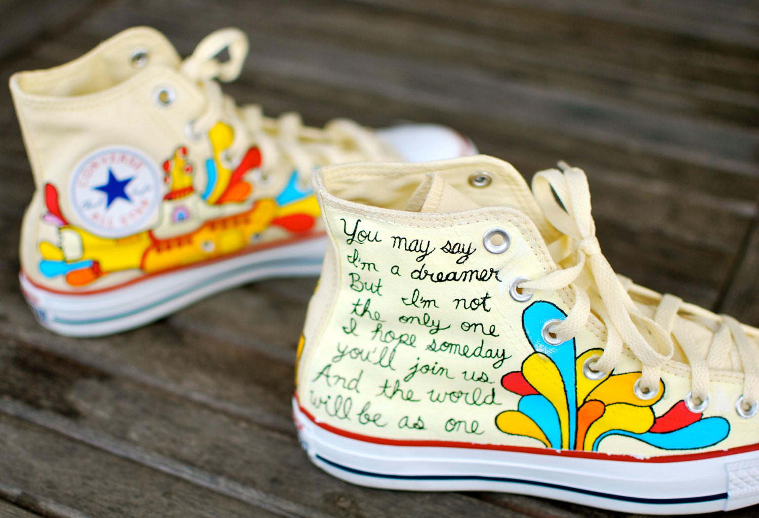 Hand Painted Yellow Submarine Beatles Hi Top White Converse Chuck Taylor All  Star Snea 9cedc6abb