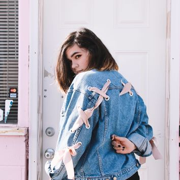 Satin Lattice Denim Jacket