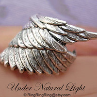 Archangel wing ear cuff earring jewelry in silver by RingRingRing