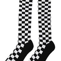 Black White Checkered Knee-High Socks - 178712