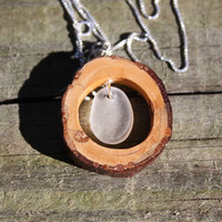 Redwood and Seaglass necklace, Redwood Forest necklace, real Redwood branch, California seaglass, Sequoia, Pacific Coast,  Sea glass beach