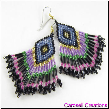 Native American Style Beadwork Seed Bead Earrings Multicolored Dangle