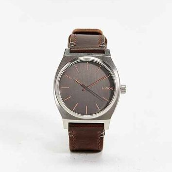 Nixon Time Teller Leather Watch- Gold One