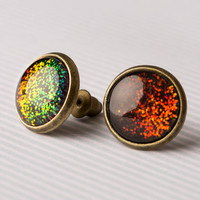 Holographic Black Glass Earrings