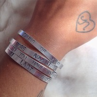 hand stamped bangles - silver