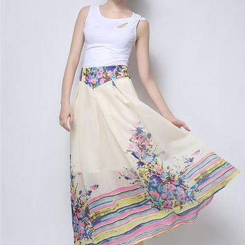 Floral A-line Maxi Pleated Skirt
