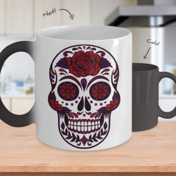 Sugar Skull Color Changing Coffee Mug - Day of the Dead - Dia De Los Muertos