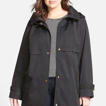 Plus Size Women's Gallery Snap Front A-Line Raincoat with Detachable Hood ,