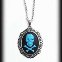 Blue Skull Gothic Necklace, Skull and Crossbones Cameo, Pastel Goth, Punk, Antique Silver Frame, Handmade Jewelry, Gothic Gift Idea