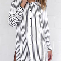 White Striped Roll Sleeve Loose Shirt Dress