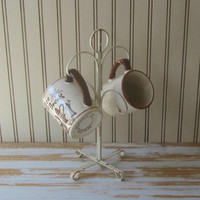 Vintage Metal Mug Tree Coffee Cup Holder Mug Stand Teacup Tree Standing Cup Rack Chippy Cottage Chic