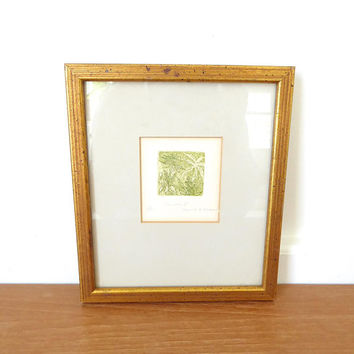 Anne K. H. Cleaver etching Canabis II, limited edition number 2/25, framed in flecked gold wood frame