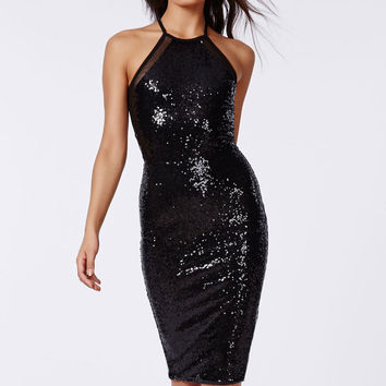 Black Sequined Sleeveless Midi Dress with Mesh Insert