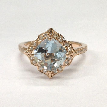 Aquamarine Engagement Ring 14K Rose Gold!Diamond Wedding Bridal Ring,Retro Vintage flower,floral,7mm Cushion Cut Blue Aquamarine,Fine Ring