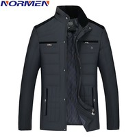 NORMEN 2017 New Casual Winter Jacket Man Stand Collar Parkas For Men Fashion Streetwear Rib Sleeve Padded Solid Overcoat