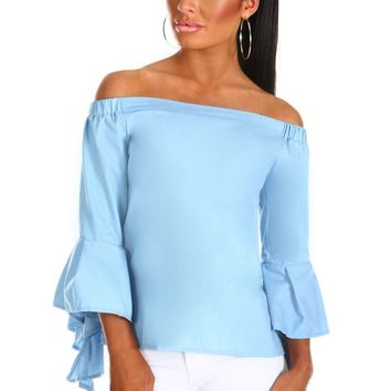 So First Dates Light Blue Denim Bardot Top