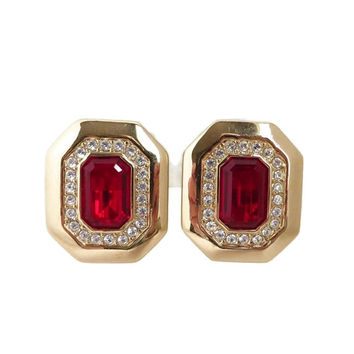 Vintage S.A.L. Swarovski Crystal  Earrings, Ruby Red & Clear Rhinestone Earrings, Gold Tone Clip-on 1970s Jewelry