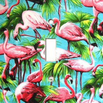 Light Switch Cover - Light Switch Plate Pink Flamingo Birds