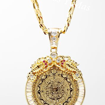 """Aztec Calendar and Mexican Eagle Centenario with 26"""" Necklace (24K Gold Filled)"""